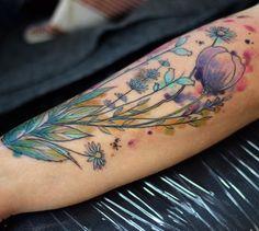 Boda watercolor flower tattoo