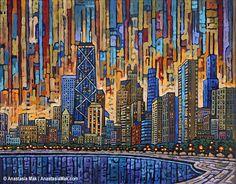Chicago Dusk 8x10 Art Print by Anastasia Mak