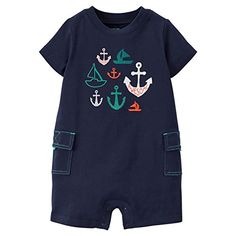 Just One Youby Carters Baby Boys Blue Rompe  Anchor Newborn * Read more reviews of the product by visiting the link on the image. (This is an affiliate link) #BabyBoyFootiesandRompers