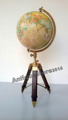 Nautical Table Decorative Globe with Tripod Stand World Map Globe Desktop Decor
