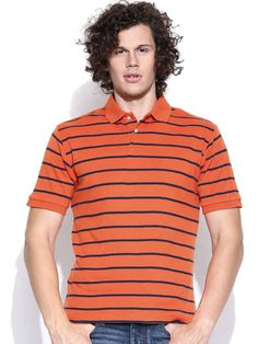 Dream of Glory Inc. Orange Striped Polo T-shirt