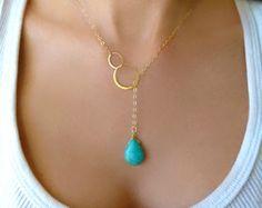 Sautoir turquoise collier de perles Turquoise par GlassPalaceArts