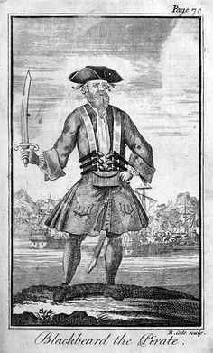 "Edward Teach, the famous pirate ""Blackbeard""  Eighteenth-century engraving by Benjamin Cole"
