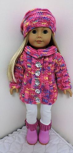 Dollie-Clothes free knitting doll patterns   Pink Jacket & Hat AMG