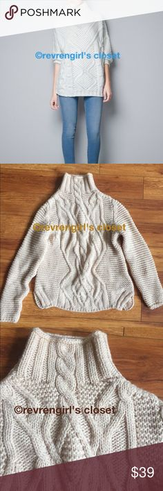 ZARA Cable Mock Neck Knit Sweater Size Large Winter is coming! Be stylish and still be cozy and warm💋ZARA Cable Mock Neck Knit Sweater Size Large ( I also added .. last image..a similar sweater in here modeled so you can see how this ZARA sweater falls on your body.. only difference is different cable design) ZARA Sweaters