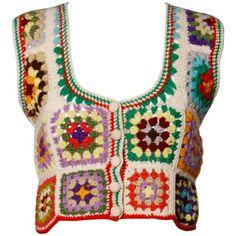 Adolfo Neiman Marcus Vintage Wool Granny Squares Crochet Vest/ Sweater Top at Crochet Granny, Hand Crochet, Knit Crochet, Granny Square Sweater, Hippie Crochet, Vintage Knitting, Vintage Crochet Patterns, Sock Knitting, Vogue Knitting