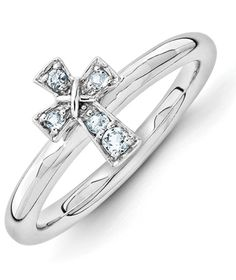 ApplesofGold.com - Aquamarine Cross Ring in Sterling Silver Jewelry $49.00