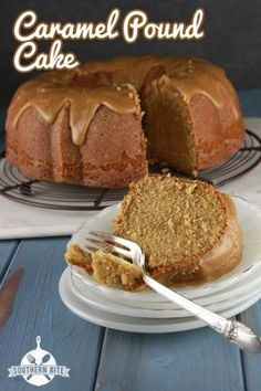 Caramel Pound Cake *My Slam dunk tested meals! Caramel Pound Cake with Caramel Icing.watch the time.it baked a little too much in my metal pan Food Cakes, Cupcake Cakes, Cupcakes, Just Desserts, Delicious Desserts, Dessert Recipes, Recipes Dinner, Lunch Recipes, Appetizer Recipes
