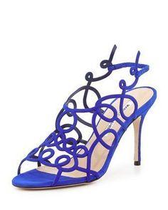 Gori Suede Squiggly Sandal, Blue by Manolo Blahnik at Bergdorf Goodman. #manoloblahnikheelsbergdorfgoodman