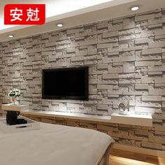 Stacked brick stone wallpaper modern wallcovering pvc roll wallpaper brick wall background wallpaper grey for living room Papel de parede Vinyl Wallpaper, 3d Wallpaper Decor, 3d Stone Wallpaper, Brick Wallpaper Living Room, Living Room Vinyl, Brick Effect Wallpaper, Modern Wallpaper, Textured Wallpaper, Living Roon