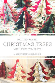 Padded Fabric Christmas Trees - a great idea for a table centrepiece, Gift or Christmas Decoration - make them to match your decor. Free template and picture tutorial Quilted Christmas Gifts, Christmas Fabric Crafts, Christmas Patchwork, Christmas Sewing Projects, Christmas Tree Pattern, Easy Sewing Projects, Sewing Projects For Beginners, Xmas Tree, Sewing Crafts