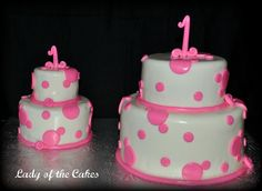 Pink and white polka dot cakes