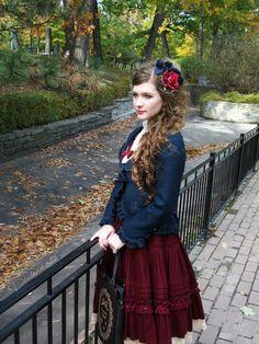 •○~ Classic lolita, ロリータ♥ coordinate - jacket - frills - skirt - book shaped purse - bag - curly hair - flowers - elegant - cute - kawaii  - Japanese street fashion✮ ~•○
