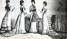 Detachable petticoat train-supportings, short petticoats and a matinée from 1880