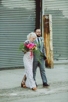 Stylish Greenpoint Loft Wedding - photos by Shannon Roddy and Elena Mudd for Amber Gress Photography http://ruffledblog.com/stylish-greenpoint-loft-wedding | Ruffled