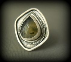 prehnite cocktail ring, sterling silver .925, green gemstone, size 7.5