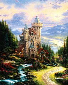 Thomas Kinkade Guardian Castle painting for sale, this painting is available as handmade reproduction. Shop for Thomas Kinkade Guardian Castle painting and frame at a discount of off. Thomas Kinkade Art, Kinkade Paintings, Oil Paintings, Thomas Kincaid, Art Thomas, Beautiful Paintings, Pretty Pictures, Amazing Art, Cross Stitch Patterns