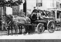 Horsewagon from Engine 41. Brighton Allston Firehouses, Boston, 1910.