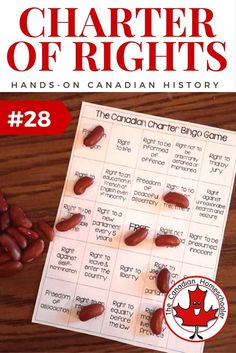 Hands-On Canadian History: The Canadian Charter of Rights and Freedoms More In the Canadian Charter of Rights and Freedoms was introduced. This BINGO game helps kids understand what's on the charter and what these rights mean. Canadian Law, Canadian Things, Canadian History, Canadian Bacon, Social Studies Notebook, Social Studies Resources, Teaching Social Studies, Black History Month Activities, History For Kids