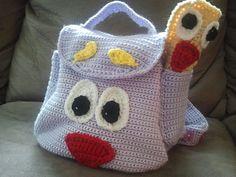 Dora's Backpack crochet bag... Ooooommmmmggggg Crochet Girls, Cute Crochet, Crochet For Kids, Crochet Ideas, Crochet Projects, Crocheted Headbands, Crocheted Purses, Crochet Shoes, Crochet Bags