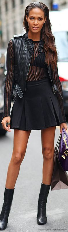 Joan Smalls | Milan Fashion Week Street Style | Eiseman Style | Fashion | Style | Hair | Leather