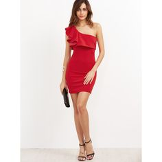 Red Ruffle One Shoulder Bodycon Dress ($18) ❤ liked on Polyvore featuring dresses, white one shoulder dress, red white dress, red dress, one shoulder cocktail dress and red cocktail dress