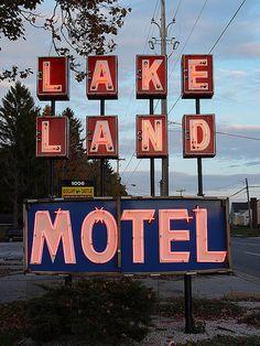 Lake Land Motel Vintage Neon Sign by randomroadside