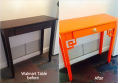 Walmart Table + O'verlays Greek Key Corners + Orange paint  + Drawer pull = around $65    Done by Larrisa Smith