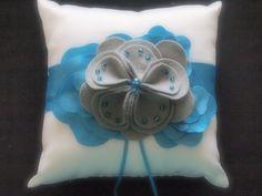 Ring Pillow Bearer Wedding White Teal Blue 75 flower colors & 50 glass bead colors available by ArtisanFeltStudio