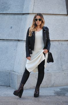 Double Leather Look. Knit midi dress. Chunky heel boots. Trendencies
