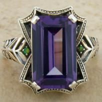 8 Carat Color Changing Alexandrite & Opal Antique Victorian .925 Sterling Silver Ring size 10