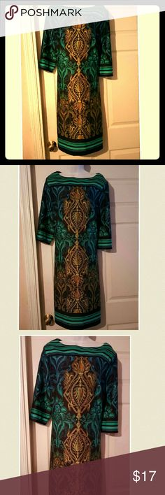 Green and gold azetec print ponte knit sheath Geen and gold Aztec print ponte knit sheath dress with boat neckline and 3/4 sleeves Dresses