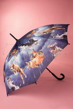 So Rainy - 50s Vintage Raining Cats and Dogs Umbrella