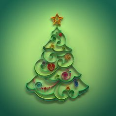 Christmas Tree Conifer Decoration Quilling Stock Photos - Image: 28058973