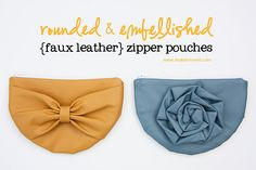 Rounded & embellished {faux leather} zipper pouches