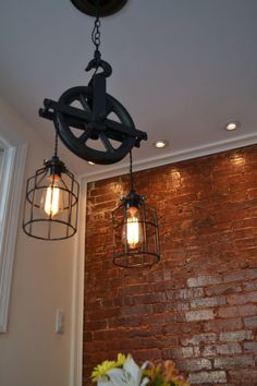 $198 Repurposed Barn Pulley Industrial Light by WestNinthVintage