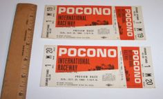 Vintage Pocono Race Tickets 1968 Original Indy Car IRL Racing Seats Grandstand