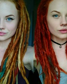 Red in different ways, dreadlocks
