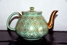 Hall Green & Gold Floral Teapot