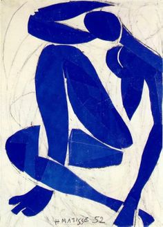 Matisse- Blue Nude (1952) Using paper cut-outs adhered to a...