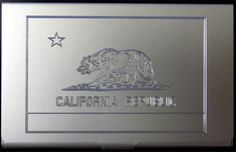California Flag America Engraved Business Card Case Patch Holder Gift BUS-0063