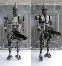 https://flic.kr/p/kQDhe3   Cleaning out the closet   Bedfellow to Johnny 5 this thing just doesn't display well. Standing up is a luxury for this one and re taking the photos was more than enough stress to finally put this one in the break up bin. I think I'll have another go at an Assassin Droid some other time. A word of warning for those who venture forth is to build larger characters in a pose and not get hung up on pose ability and hence weak joints.