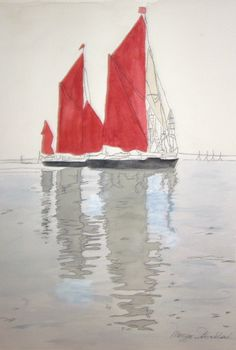 "For Sale: Red Sails by Maggie Strickland | $100 | 12""w x 9""h 