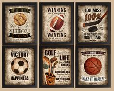 Famous Sports Quotes - Set of 6 photo prints - Poster Wall Art Vintage Golf Hockey Soccer Baseball Football Basketball Boys Room Decor Boys Room Decor, Playroom Decor, Kids Room, Wall Decor, Vintage Baseball Decor, Vintage Golf, Famous Sports Quotes, Sport Quotes, Vintage Sports Nursery