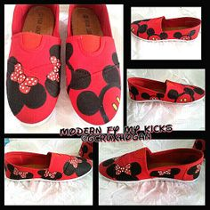 Custom Painted Mickey and Minnie shoes by ModernFymyKicks on Etsy, $35.00