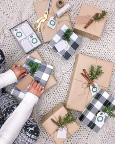 Christmas Gift Wrapping Ideas // Buffalo check plaid + brown paper with cinnamon stick & pine accents!