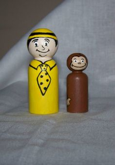 Curious George Themed Nursery Decor: Curious George and The Man In The Yellow Hat Wooden Peg People
