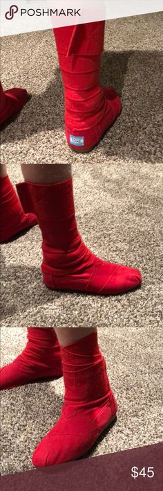 TOMS wrap boots. Red TOMS wrap boots. Hard to find. Only for the maxx fashionista! Wear them high, wear them low... totes up to you. Super fun. Gently worn. Look great! Toms Shoes