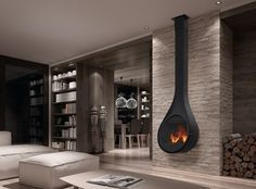 The Rocal Drop Closed Combustion Fireplace doesn't only look amazing, but has a large number of innovative features! Mounted Fireplace, Stove Fireplace, Wood Fireplace, Fireplace Design, Fireplaces, Interior Design Living Room, Living Room Decor, Decor Interior Design, Interior Decorating