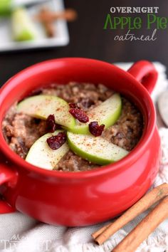 Overnight Slow Cooker Apple Pie Oatmeal! Made with steel-cut oats, apples, cranberries and spices! A perfectly delicious way to start your day! | MomOnTimeout.com | #breakfast #crockpot #recipe